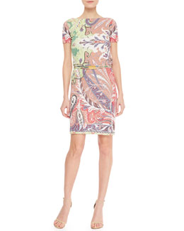 Etro Short-Sleeve Chain-Belted Paisley Dress, Pink
