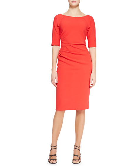 Lela Rose Deedie 3/4-Sleeve Side Ruched Dress, Persimmon