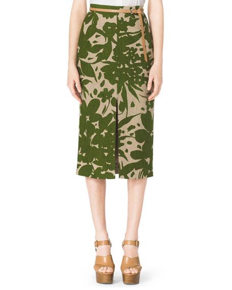 Floral-Print Linen Pencil Skirt