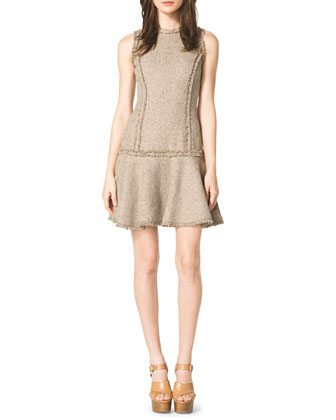Drop-Skirt Tweed Dress