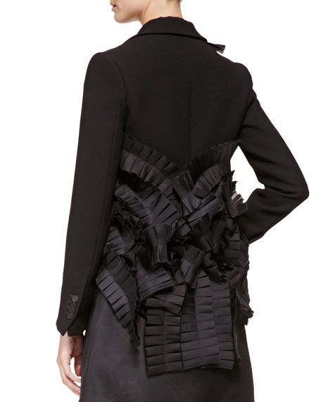 Tiered-Back Pleated-Ribbon Jacket