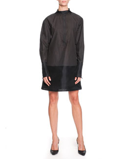 Bottega Veneta Tab-Collar Long-Sleeve Cotton Dress, Graphite/Black