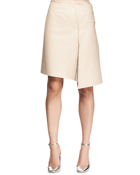 Asymmetric Leather Slit Skirt
