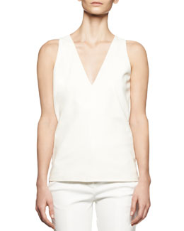 Reed Krakoff V-Neck Leather Combo Top