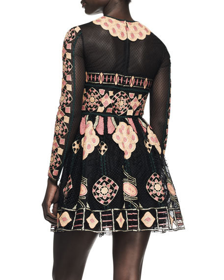 Long-Sleeve Embroidered Bambolina Dress