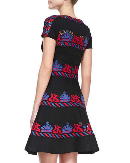 Short-Sleeve Embroidered Tribal Stripe Dress, Valentino