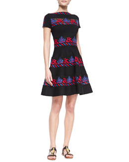 Valentino Short-Sleeve Embroidered Tribal Stripe Dress, Valentino