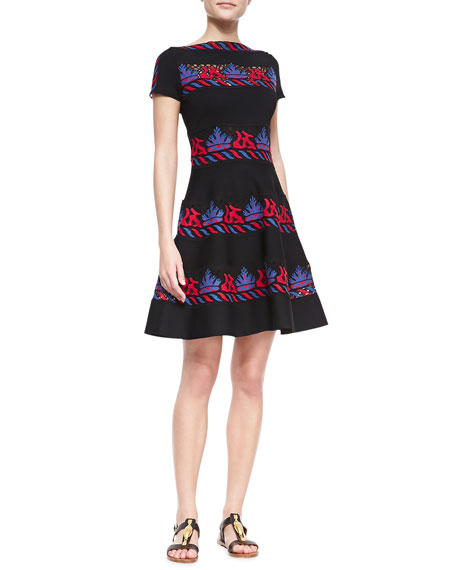 Short-Sleeve Embroidered Tribal Stripe Dress, Valentino