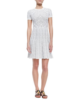 Valentino Short-Sleeve Griffin-Print Pleated Dress, Avorio Beige