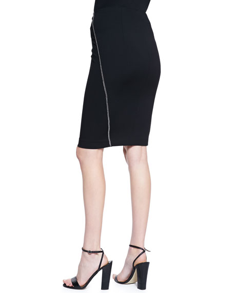 Chain-Trim Fitted Straight Skirt
