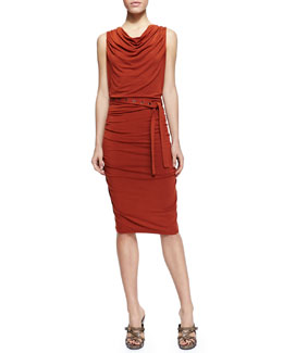Donna Karan Sleeveless Self-Belted Ruched Jersey Dress