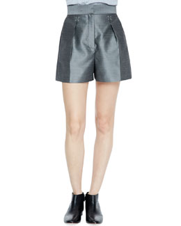 Alexander Wang Suiting Shorts with Silver Hardware, Black/White