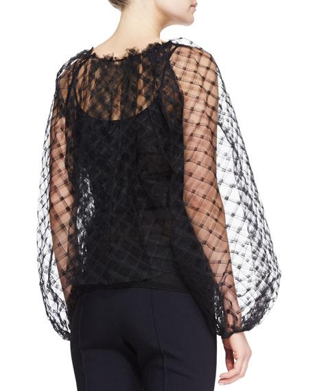 Long-Sleeve Lace Blouse, Black