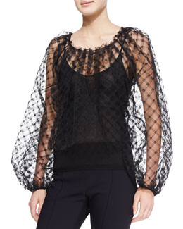 Oscar de la Renta Long-Sleeve Lace Blouse, Black