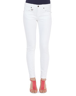Burberry Brit Seamed Skinny Jeans with Heritage Ring, White