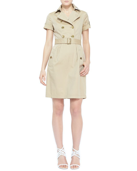 Short-Sleeve Belted Cotton Trench Dress