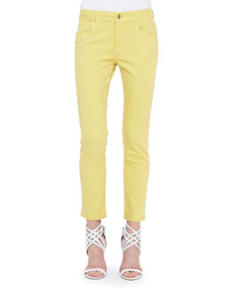 Burberry Brit Skinny Ankle Jeans, Pale Citrus