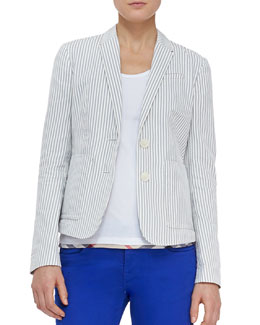 Burberry Brit Cotton Seersucker Blazer, Mid Indigo
