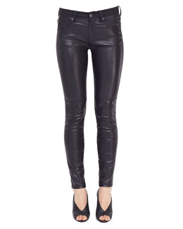 Burberry Brit Leather-Front Skinny Jeans, Black