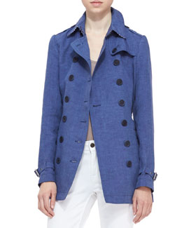 Burberry Brit Linen Trench Coat with Polka Dots, Light Indigo