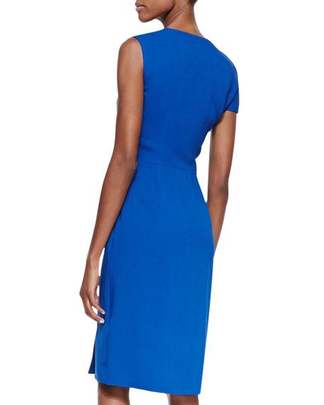 V-Neck Dress with Knotted Shoulder, Avion Blue