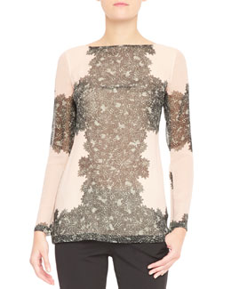 Tamara Mellon Long-Sleeve Peekaboo Lace Blouse