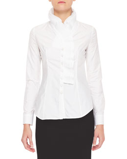 L'Wren Scott Pleated Ruffle-Collar Blouse, White