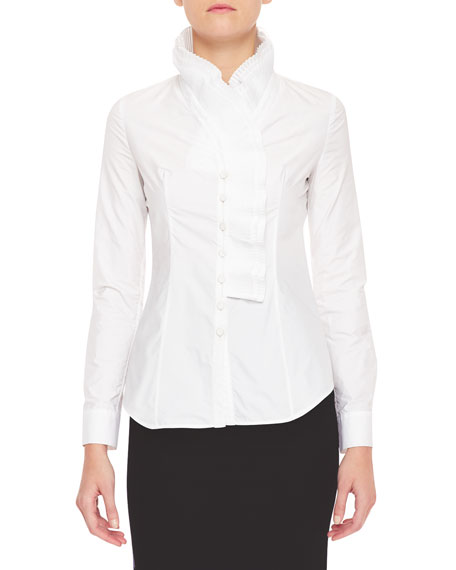 Pleated Ruffle-Collar Blouse, White