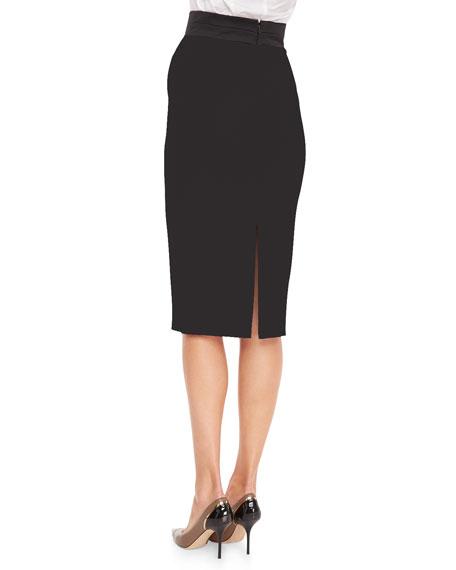 Back Slit Midi Pencil Skirt, Black
