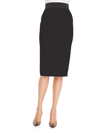 Back Slit Midi Pencil Skirt, Black