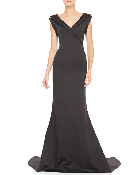 Faux Wrap-Front V-Neck Gown, Black