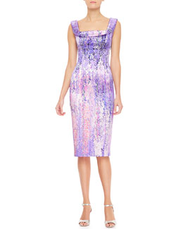 L'Wren Scott Draped Collar-Print Tank Dress, Purple/Multi