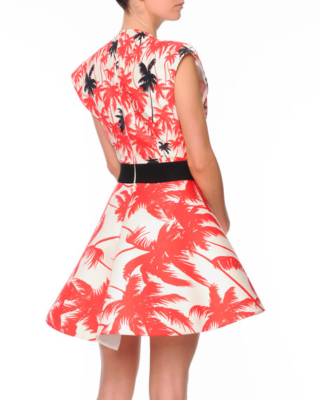 Sleeveless Plunging Palm-Print A-Line Dress