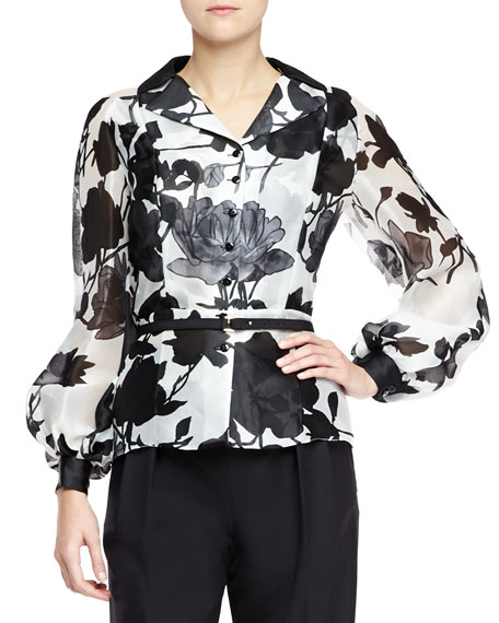 Silk Long-Sleeve Floral Blouse, Black/White