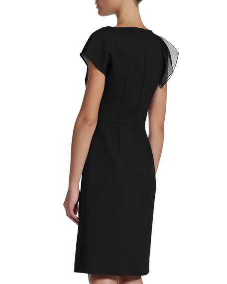 Organza Layer One-Side Cap-Sleeve Dress, Black