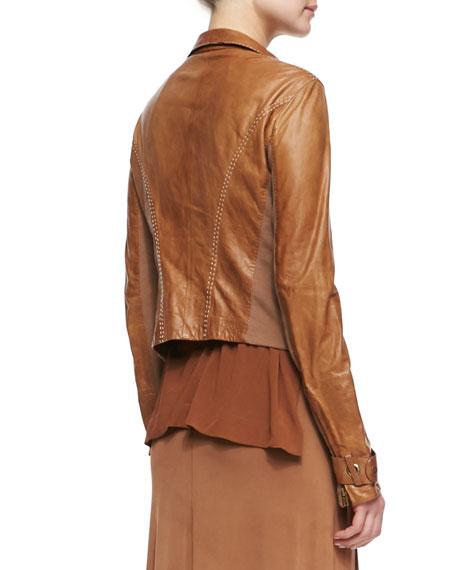 Asymmetric Zip Lambskin Leather Jacket