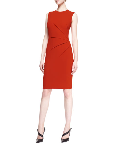 Sleeveless Side-Seam Sheath Dress, Orange