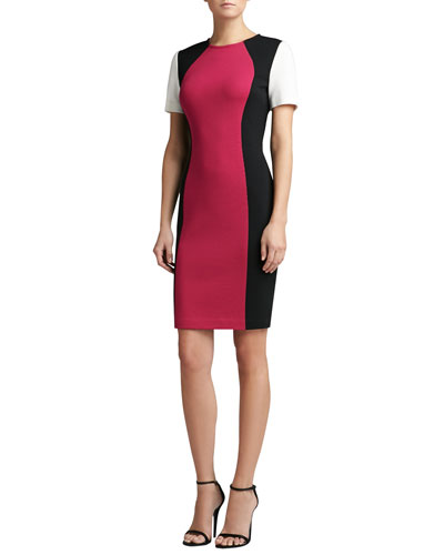St. John Collection Milano Knit Colorblock Jewel Neck Short Sleeve Dress
