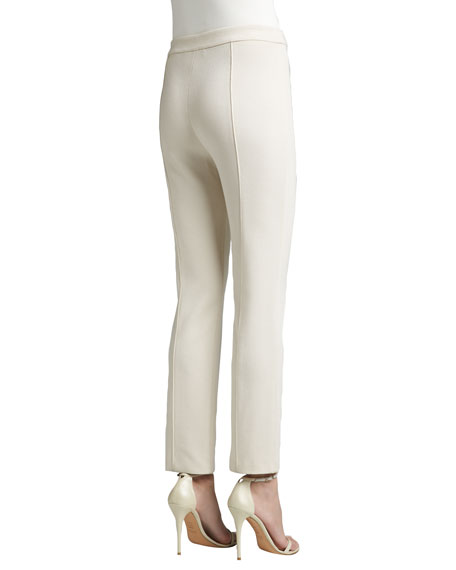 Stretch Milano Knit Cropped Pants with Front & Back Pintucks