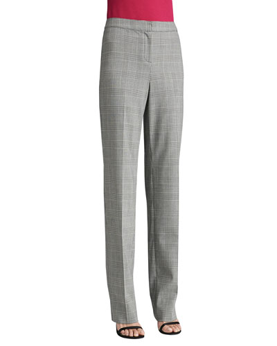 St. John Collection Prince of Wales Plaid Suiting Straight Leg Diana Pants