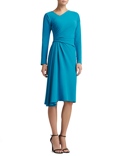 St. John Collection Luxe Crepe Asymmetric Wrap Dress with Long Dolman Sleeves
