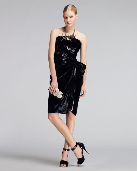 Bow-Waist Strapless Liquid Velvet Dress