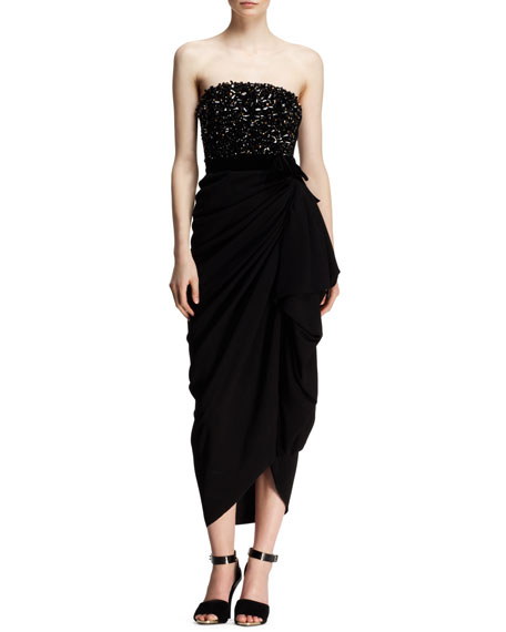 Strapless Beaded-Bodice Drape Dress