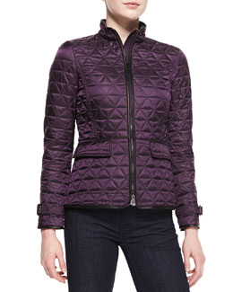 Burberry Brit Quilted Zip-Front Jacket
