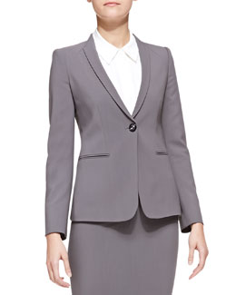 Armani Collezioni Featherweight-Wool One-Button Blazer