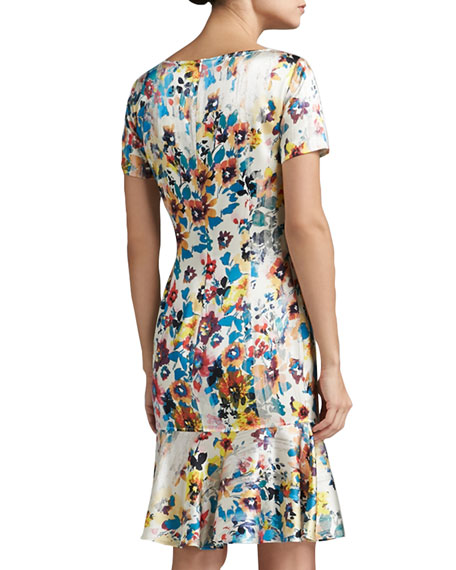 Watercolor Pansies Print Stretch Silk Charmeuse Short Sleeve Dress with Bow