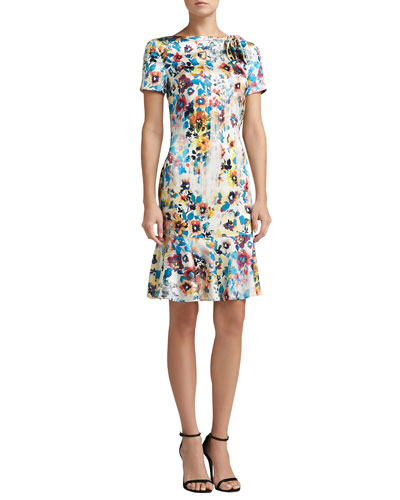 St. John Collection Watercolor Pansies Print Stretch Silk Charmeuse Short Sleeve Dress with Bow