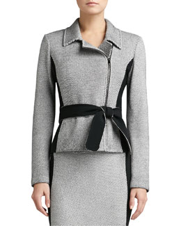 St. John Collection Birdseye Tweed Knit Jacket with Contrast Crepe Marocain & Belt