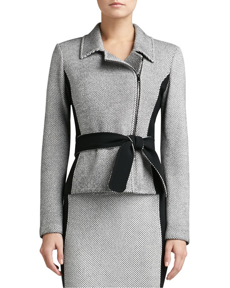 Birdseye Tweed Knit Jacket with Contrast Crepe Marocain & Belt