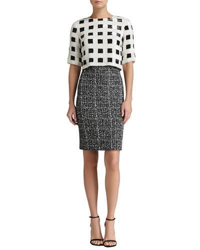 St. John Collection Sparkle Check Knit Elbow Sleeve Dress with Hand-Beaded Paillettes